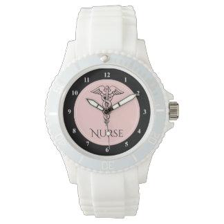 Medical Caduceus Symbol | RN Nurses Nursing Pink Watches