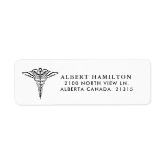 Medical Caduceus Symbol Wht | Return Address Return Address Label