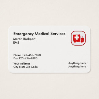 Medical Emergency EMS Ambulance Business Card