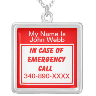 Medical Emergency Phone Number Necklace