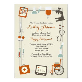 Medical Frame Retirement Party Invitation