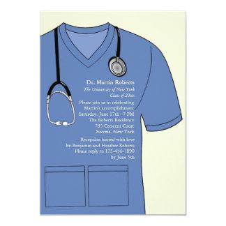 Médical frotte l'invitation bleue d'obtention du carton d'invitation  12,7 cm x 17,78 cm