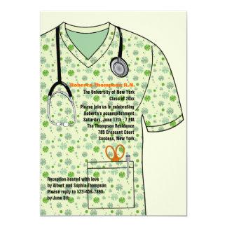 Médical frotte l'invitation d'obtention du diplôme carton d'invitation  12,7 cm x 17,78 cm
