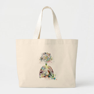 Medical Gifts Heart and Lungs Motif Large Tote Bag