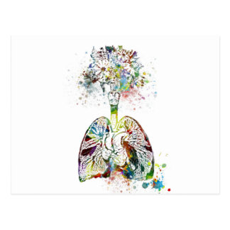 Medical Gifts Heart and Lungs Motif Postcard