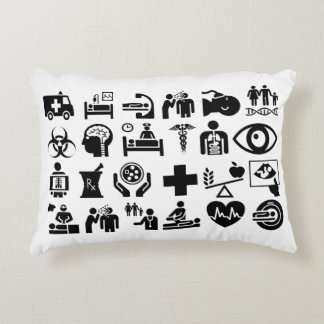 Medical Icons bold black and white design Accent Pillow