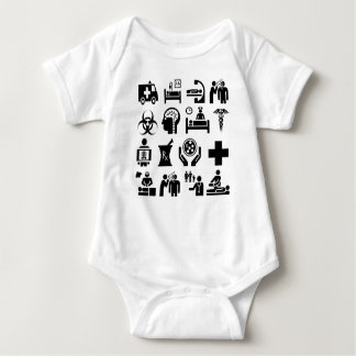 Medical Icons bold black and white design Baby Bodysuit