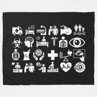 Medical Icons bold black and white design Fleece Blanket