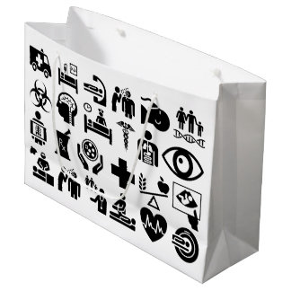 Medical Icons bold black and white design Large Gift Bag
