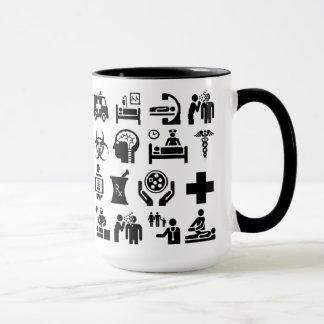 Medical Icons bold black and white design Mug