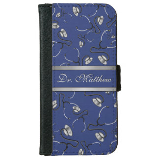 Medical, Nurse, Doctor themed stethoscopes, Name iPhone 6 Wallet Case