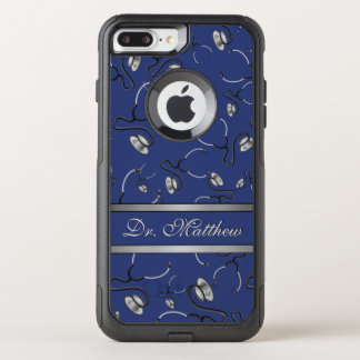 Medical, Nurse, Doctor themed stethoscopes, Name OtterBox Commuter iPhone 8 Plus/7 Plus Case