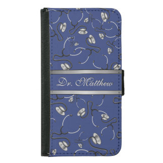 Medical, Nurse, Doctor themed stethoscopes, Name Samsung Galaxy S5 Wallet Case