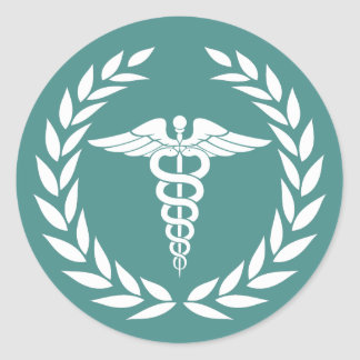 Medical Nursing Caduceus Symbol Teal Classic Round Sticker