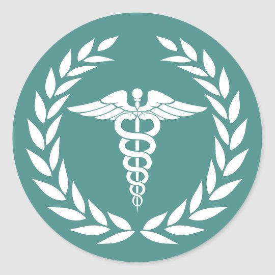 Medical Nursing Caduceus Symbol Teal Classic Round Sticker Zazzle