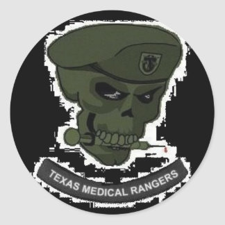 Medical rangers with skull round decals round sticker