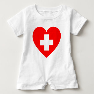 Medical red heart baby romper