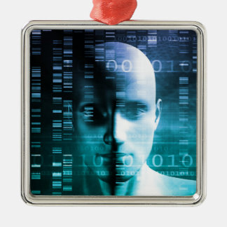 Medical Research in Genetics and DNA Science Silver-Colored Square Ornament