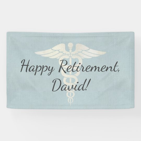 Medical Retirement Elegant Blue Linen Banner