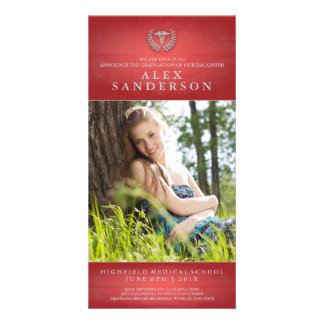 Medical School Graduation Photo Card with Caduceus