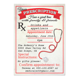Medical School Graduation Prescription Invitation