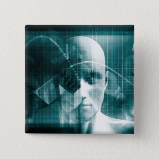 Medical Science Futuristic Technology as a Art 2 Inch Square Button