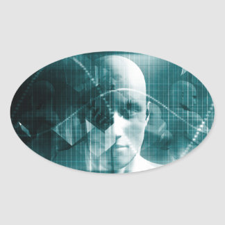 Medical Science Futuristic Technology as a Art Oval Sticker