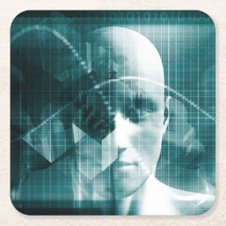 Medical Science Futuristic Technology as a Art Square Paper Coaster