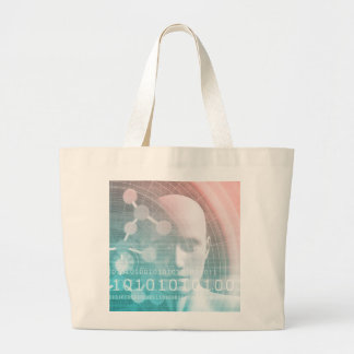 Medical Science of the Future with Molecule Backgr Large Tote Bag
