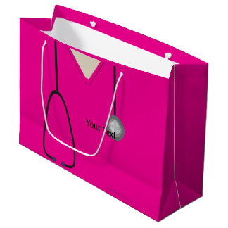 Medical Scrubs Doctor Nurse Hot Pink Lg Gift Bag