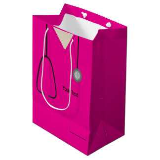 Medical Scrubs Doctor Nurse Hot Pink Med Gift Bag