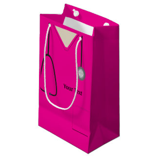 Medical Scrubs Doctor Nurse Hot Pink Sml Gift Bag