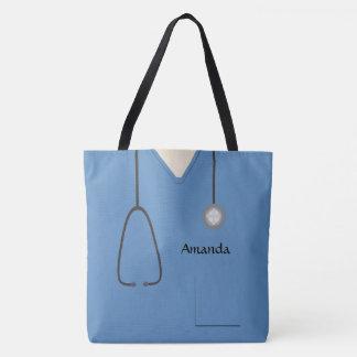 Medical Scrubs Nurse Blue AOPM Tote Bag