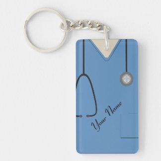 Medical Scrubs Nurse Doctor Blue Custom Acrylic Rectangular Acrylic Keychains