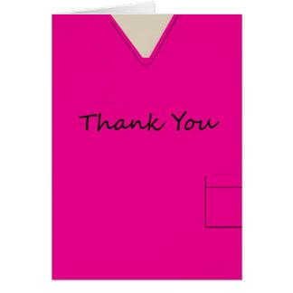 Medical Scrubs Nurse Hot Pink Thank You Custom Card