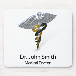 Medical Silver Caduceus Black Gold - Mousepad