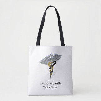 Medical Silver Caduceus Black Gold - Tote Bag