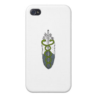 Medical Snake Eagle Feather Drawing iPhone 4 Cases