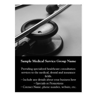 Medical Stethoscope, Black and White Postcard