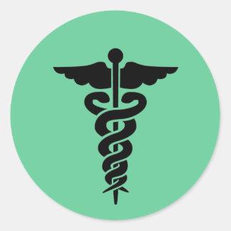 Medical Symbol Caduceus Round Sticker