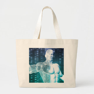 Medical Technology with Scientist Engineer on DNA Large Tote Bag