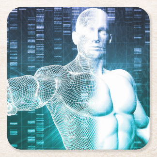 Medical Technology with Scientist Engineer on DNA Square Paper Coaster