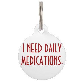 Medication Alert Dog Tag
