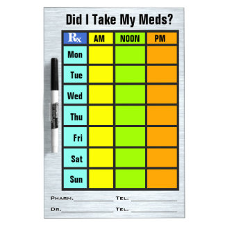 Medication Check List (Dry Erase Board) Dry-Erase Whiteboard