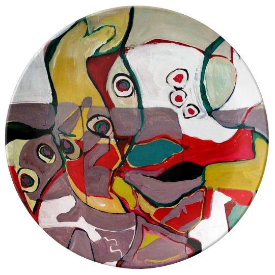 Medici Gardens Colourful Abstract Ceramic Plate Porcelain Plates