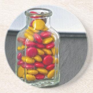 Medicine Bottle of Candy Drink Coaster