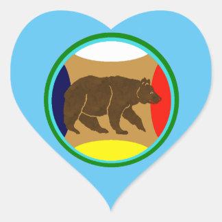 Medicine Wheel Bear Heart Sticker