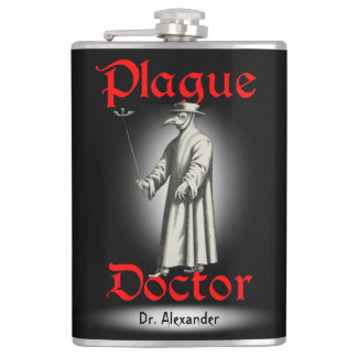 Medico Della Peste Plague Doctor Bird Beak Costume Hip Flask