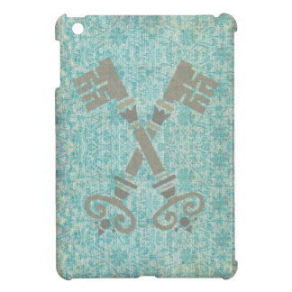 Medieval 21st keys against vintage blue pattern iPad mini covers