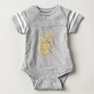 Medieval Archer Aiming Bow and Arrow Letter Z Draw Baby Bodysuit